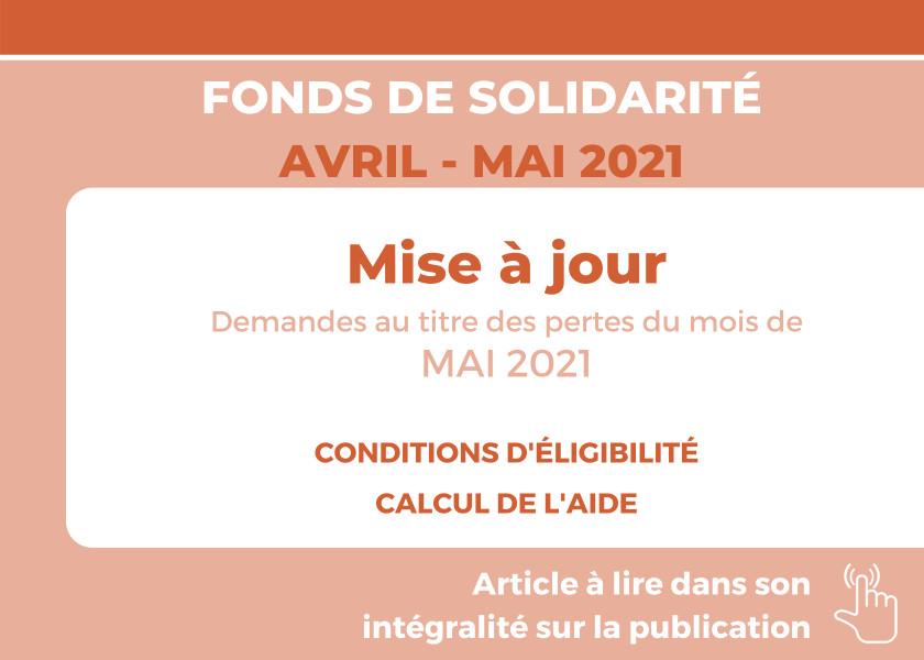 FONDS DE SOLIDARITÉ POUR LE MOIS D'AVRIL 2021