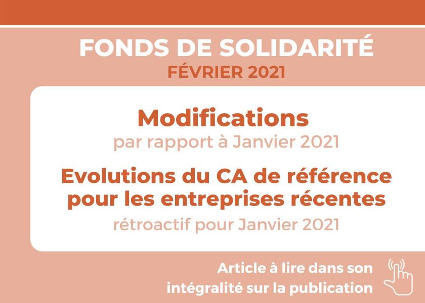 FONDS DE SOLIDARITÉ POUR LE MOIS DE FÉVRIER 2021