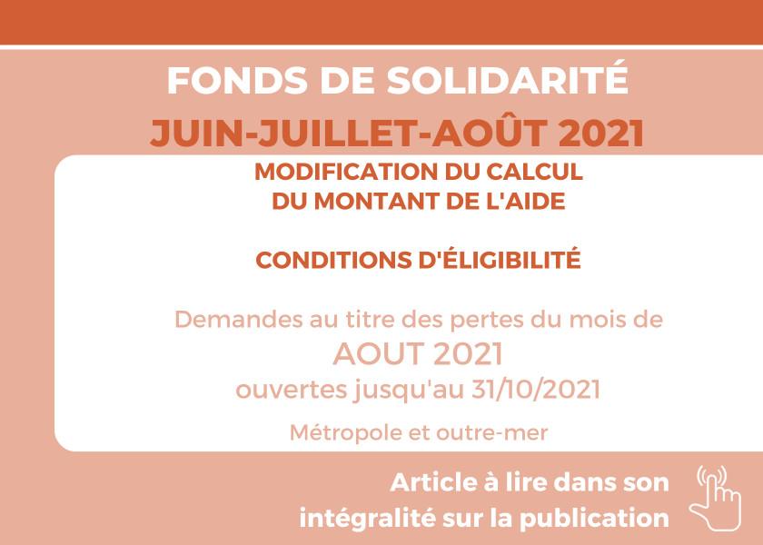 FONDS DE SOLIDARITÉ POUR LES MOIS DE JUIN, JUILLET ET AOÛT 2021