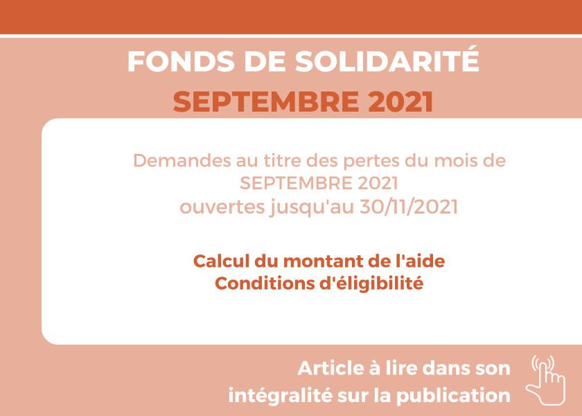 FONDS DE SOLIDARITÉ POUR LE MOIS DE SEPTEMBRE 2021