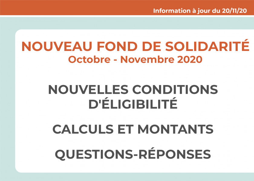 Nouveau Fonds de solidarité Oct-Nov 2020